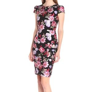 Betsey Johnson NEW Black Floral Crepe Sheath Dress